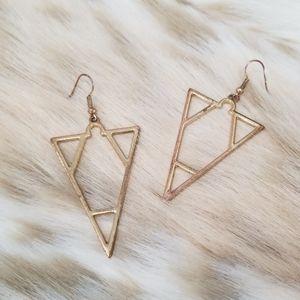 Vintage Art Deco Geometric Brass Earrings